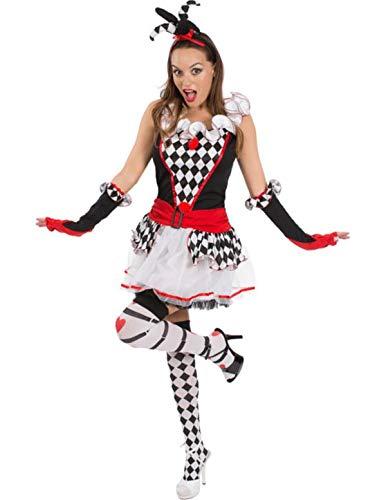 (Sexy Damen Harlekin Jester Zirkusclown Kurze Verkleidung Karneval Kostüm Small)
