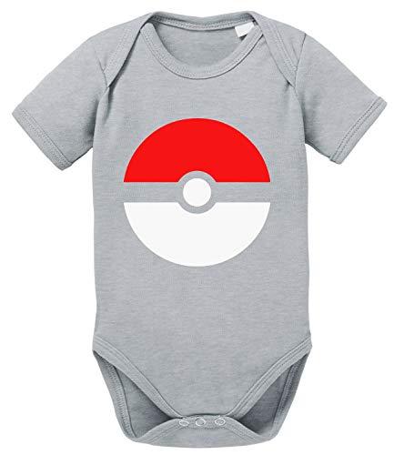 Poke Baby Strampler Poké Bio Star Baumwolle Ball Body Jungen & Mädchen 0-12 Monate, Größe:80/10-12 Monate, Farbe:Grau Meliert