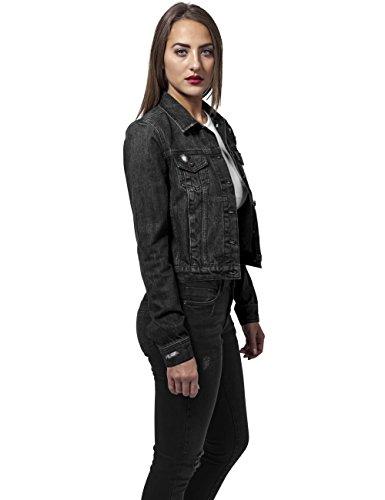 Urban Classics Damen Jeansjacke Ladies Denim Jacket Schwarz (black washed 709)