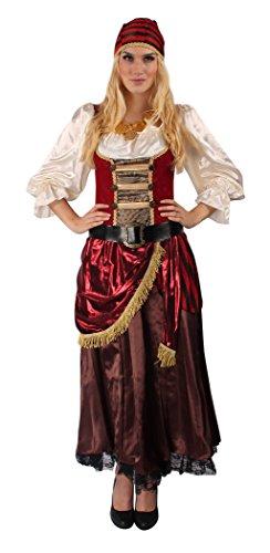 Piratenkostüm Set für Damen in Rot-Weiß | Größe: 48 / 50 | Piratin-Verkleidung für Karneval & Fasching | elegante & komplette Piratenbraut & Seeräuberin-Verkleidung | Mit Accessoires für Motto-Party (Lustige Halloween Kostüme Aktuellen Veranstaltungen 2017)