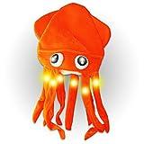 The Glow Company FLASHSQUIDHAT Blinkender Tintenfischmütze mit LED-Tentakeln und Augen, 1 Stück