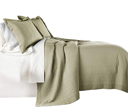 chezmoi Kollektion Yuma 3Stück Modernes 100% -Cotton vorgewaschen Soft-Finished Quilt Set Modern King Khaki -
