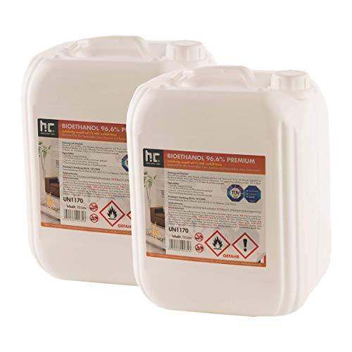 Höfer Chemie 6 x 10 L Bioethanol 96,6{636bf867368cc17ad8589452c48e81e3690f62966c37766c64c2e8152c3e9e74} Premium - TÜV SÜD zertifizierte QUALITÄT - für Ethanol Kamin, Ethanol Feuerstelle, Ethanol Tischfeuer und Bioethanol Kamin