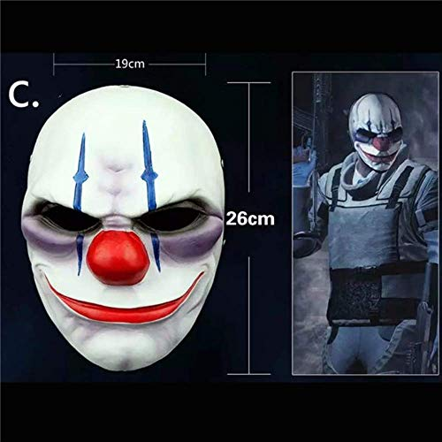Wbdd Maske Angrly Payday 2 Maske Joker Payday2 Party Masken Heist Dallas/Wolf/Ketten/Hoxton Party Cosplay Halloween Horror Maskerade Maske blau
