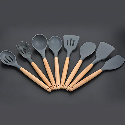 8pcs Cooking Utensils Set,Woopower Wood Handle Silicone Heat-Resistant Non-Stick Easy Clean Cookware Tools Cooking Sets