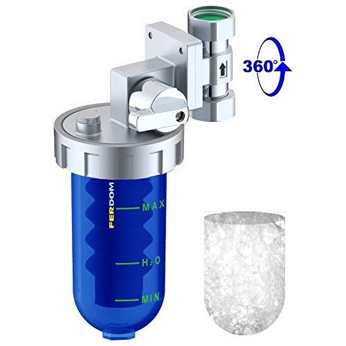 FERDOM Poliphosphatspender Feeder für Wassersysteme gegen Zunder und Korrosion. Ventil & Bypass, Messingkopf, blauer SAN-Behälter, 360 Grad 1/2