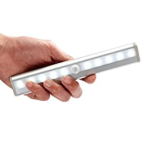 OxyLED T-02 Luce Wireless a 10 LED Portatile da Attaccare Ovunque con Sensore di Movimento da Usare come Luce per Armadio, per la Notte, per le Scale e per i Gradini con Striscia Magnetica (a Batterie) - Colore Argento