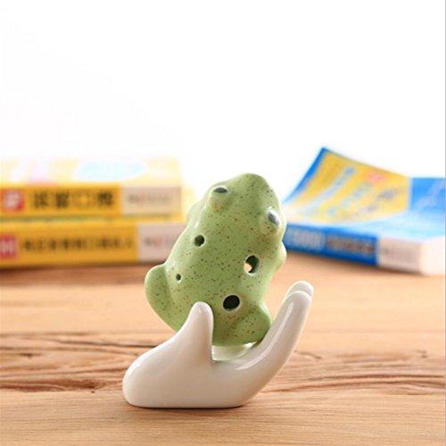 EEvER Toller Komfort, tragbare Spielbarkeit Frosch Keramik Musikinstrument Whistle Ocarina ohne Lanyard verziert (Spotted Green)