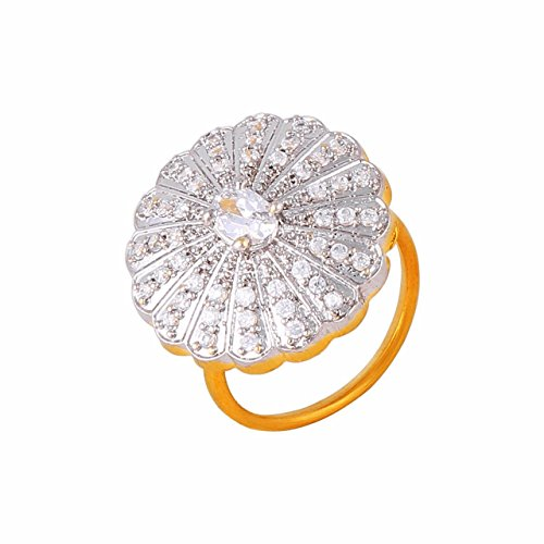 Aditri American Diamond Cz Round Cocktail Partywear Ring