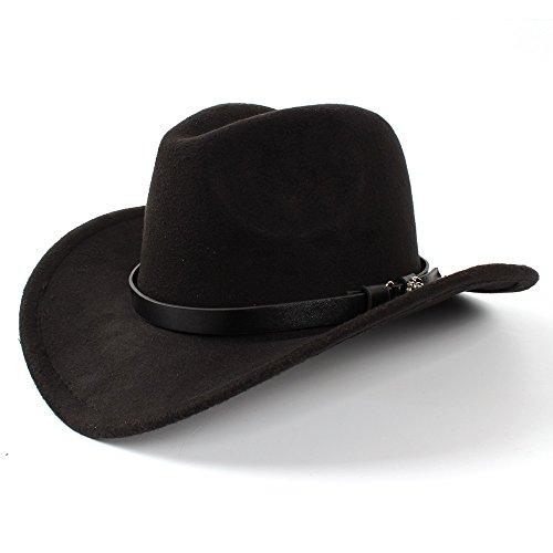 LIXUE Frauen Männer Western Cowboy Hut Lady Filz Cowgirl Sombrero Caps (Farbe : Schwarz, Größe : 56-58CM)