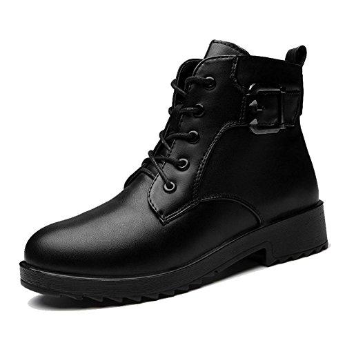 Femmina breve Martin stivali in pelle tacco basso piatto fibbia Warm casual lacci spessi peluche caviglia scarpe, RED-38 BLACK-40