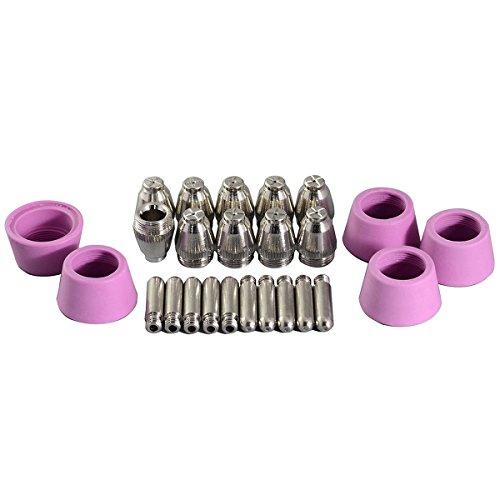 25 Teilig Plasmaschneider Düse Ø1,2mm 60Amp Elektrode Keramikdüse Ersatzteileset Für AG60 SG55 Plasma-Schneidbrenner
