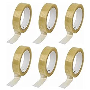 6 Pack of Premium Clear Tape - 66m x 24mm per roll - High Quality Gift Wrap Cellotape - 6 Rolls by Gocableties