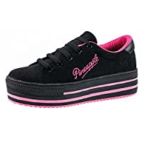 Womens Girls Chunky Platform Black Trainers Platform Flatform Thick Sole Pumps