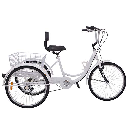 MOMOJA 24\'\' Tricycle 6 Speed 3 Wheel Bike Trike Bicycle Cycling Pedal with Shopping Basket for Adult Outdoor Sports (Weiß)