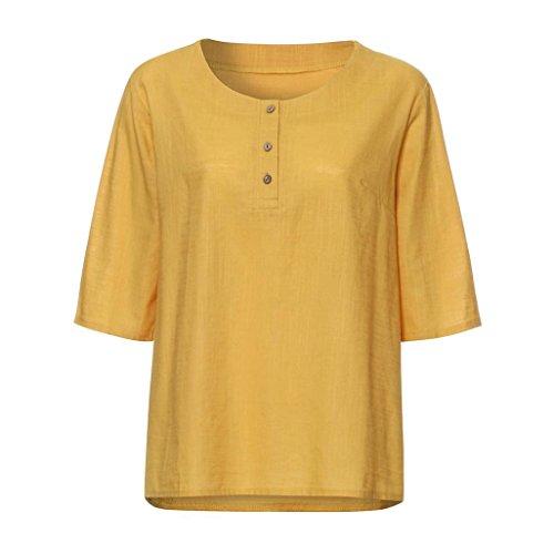 TWBB Damen Vintage T Shirt O-Ausschnitt Lose Oversize Tops Einfarbig Oberteile Hemd Kurzarm Schlinge Blusen (Asiatische L, Gelb)