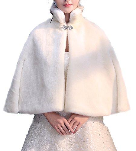 SCFL Frauen verdicken Faux Pelz Wrap Schals Warm Poncho Hochzeit Faux Pelz Braut Schals Jacke Stolen f¨¹r Winter Brautkleid