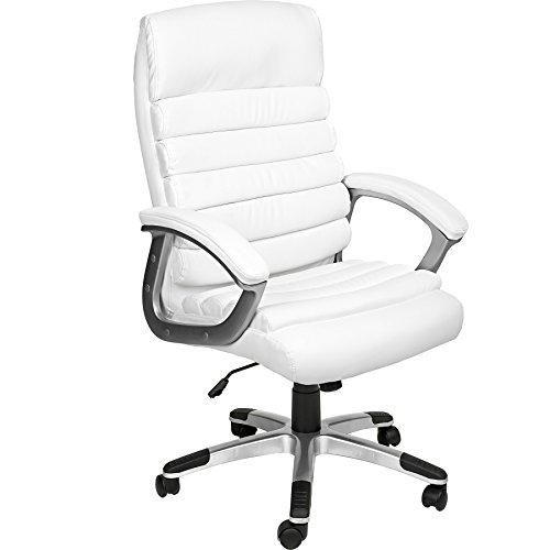 Tectake poltrona sedia ufficio presidenziale classe di lusso pelle sintetica - disponibile in diversi colori - (bianco | no. 402151)