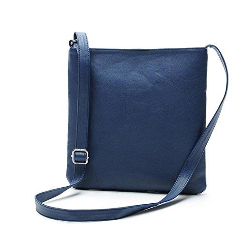 Geldbörse Mode Damen, Sunday Leder Satchel Cross Body Schultertasche Umhängetasche Handtasche (9.1*9.8inch, Blau) (Satchel Blaue)