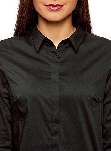 oodji Ultra Damen Tailliertes Hemd Basic Schwarz (2900N)