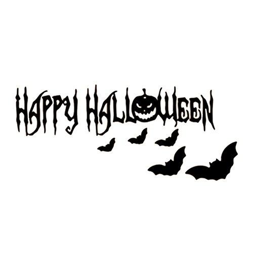 Nikgic Klassische Halloween Bat Muster Wasserdichte Wandtattoo Entfernbare Wandaufkleber Wandbild für Wohnzimmer Schlafzimmer Fenster Wanddekoration