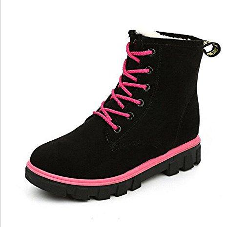 KUKI Stivali da donna, scarpe da donna, scarponi da neve, versione piatta, versione coreana, stivali Martin, inverno, più cotone, scarpe da donna in cotone, caldo black