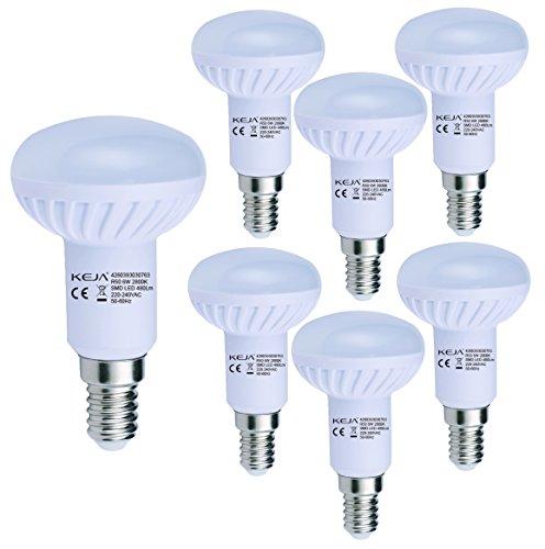 LED FACTORY 6W E14 LED, 60W Ampoule Halogène Équivalent, 480lm, Blanc Chaud, 2800K, 120° Larges Faisceaux, Pack de 6 Unités Ampoules