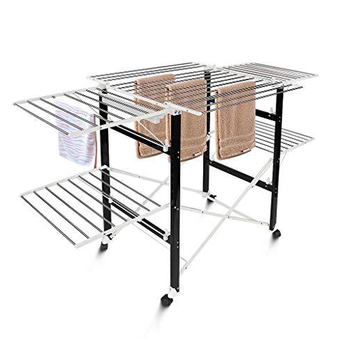 Todeco - Etendoir à Linge Pliant, Etendage à Linge Pliable - Matériau: Plastique ABS - Dimensions des Grandes grilles latérales repliables: 49,0 x 43,2 cm (x 4 pièces) - 174 x 105 x 84 cm, Noir/Blanc