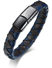 Vnox Pulsera Genuina Azul Trenzada de Acero Inoxidable Azul Pulsera Egipcia de la Pulsera de los Ojos Horus Con Broche Magnético,21cm