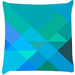 Snoogg Blue Rhombuses Digitally Printed Cushion Cover Pillow 12 x 12 Inch
