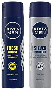 NIVEA MEN Deodorant, Fresh Power Boost, 150ml & MEN Deodorant, Silver Protect Antibacterial, 150ml Combo