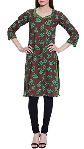Langarm v-neck braun print Baumwolle Kleid - einzigartige Damen Moden - Handwerker hergestellt in Indien (V-neck-kurta)