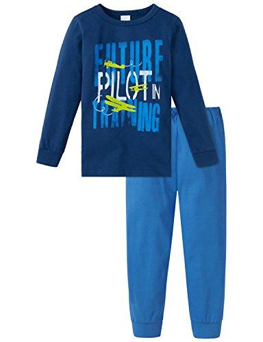 Schiesser Jungen Zweiteiliger Kn Schlafanzug Lang Blau (Dunkelblau 803), 128 (Junior-nachtwäsche)