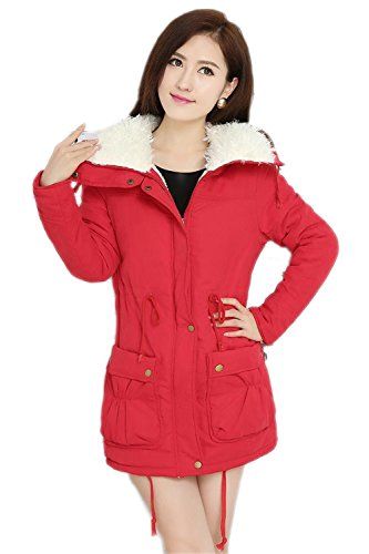 Frauen dicker warmer Wintermantel Kapuze Parka Mantel Red