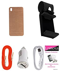 Lomoza Gold Hard Metal Brushed Cover for HTC One (M8), Car Holder,Charger, Tempered, Data & Aux Cable