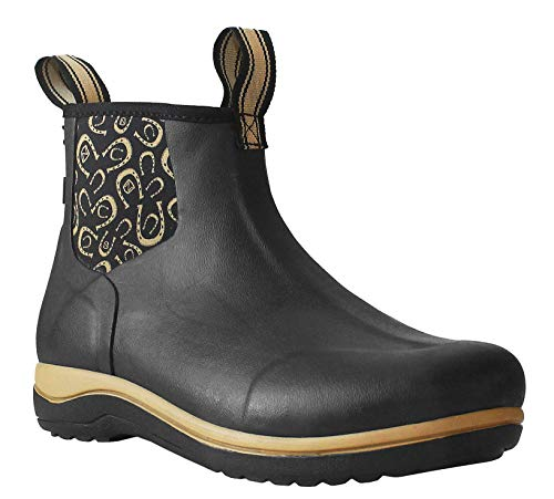 Womens Ladies Black Neoprene Twin Gusset Slip On Waterproof Muck Stable Yard Wellies Ankle Boots