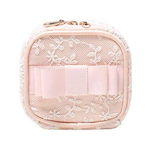 Giow Schmuckschatulle lagerung japanische Spitze Reise tragbare Mini bolzenohrring zubehör 2 Farben (Farbe: rosa, größe: 9x9x5 cm)