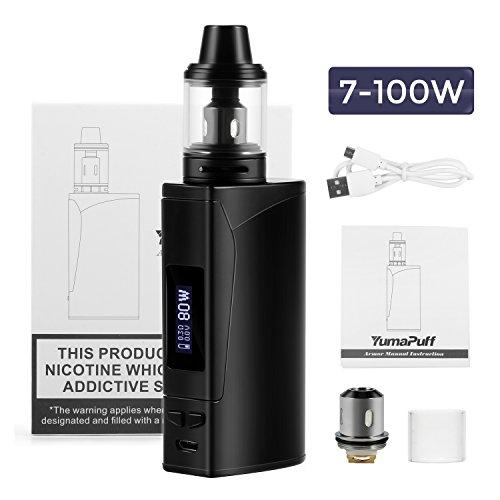 E Cigarette Starter Kit, YumaPuff Armor 100w, E Cigs, Batería recargable de 2000 mah, Enorme Kit de Vape con pantalla,Sin Nicotina y Sin E-líquido (negro)