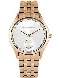 French Connection Mujer Reloj De Cuarzo Con Esfera Plateada Pantalla Analógica y oro rosa pulsera de acero inoxidable fc1272rgm