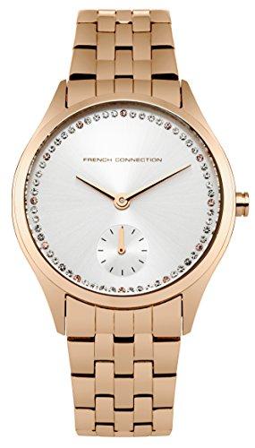 French Connection–Reloj de cuarzo para mujer con esfera analógica y plata pulsera de acero inoxidable oro rosa fc1272rgm