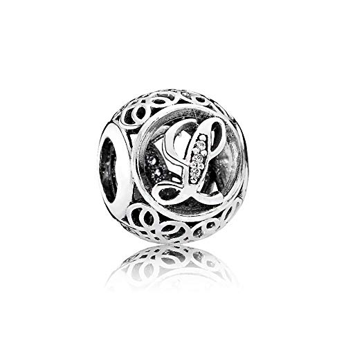 Charm-Anhänger, 925 Sterlingsilber, Motiv: Buchstabe des Alphabets, für Pandora-Armbänder, kompatibel mit europäischen Armbändern