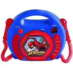 Lexibook Marvel Spider-Man Peter Parker Lecteur CD pour enfant avec 2 microphones jouets, prise écouteurs, à piles, Bleu/Rouge, RCDK100FZ
