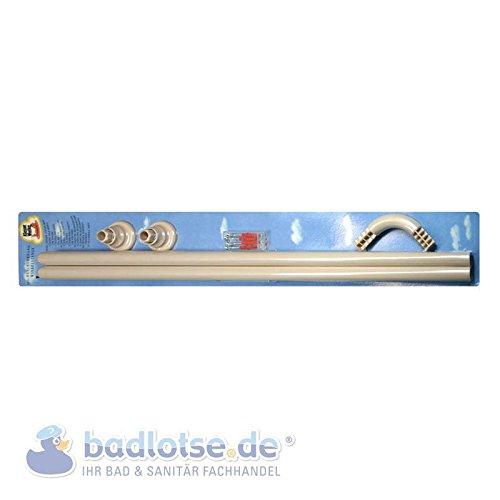 Duschvorhang-Stange 90 x 90 cm Ø 25 mm beige Winkel-Stange Dusche Bad