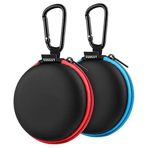 Koffer für Kopfhörer,SUNGUY [2-Pack] Reisetasche für Pocket-Ohrhörer Kleine Tasche für Smartphone Kopfhörer Etuis für Kopfhörer Bluetooth-Kopfhörer Etuis für Kopfhörer Eva 2 Farben (Blau,Rot)