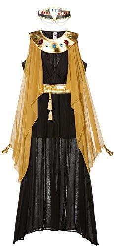 Smiffy's 55030S - Queen of the Nile Kostüm Kleid mit geteilter Front Gürtel Halskragen, schwarz