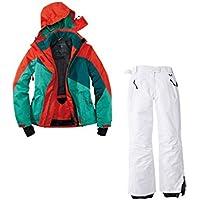 Skianzug 2tlg. Funktioneller Skianzug Für Damen M-14 Rot Grün Weiß