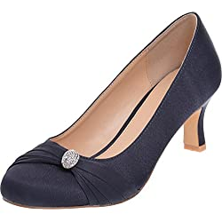 Ladies Lexus Medium Heel Comfort 'D' Fitting Shoe with Diamante Design