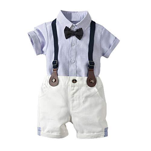Riou Bekleidungsset Kleinkind Kinder Baby Jungen Kinderanzug Babykleidung Junge Gentleman Anzüge Hochzeit Hemd+Shorts+Bogen Dreiteiligen 0-4 Jahre (70, Blau 2) (Kleinkind Vintage-anzüge)