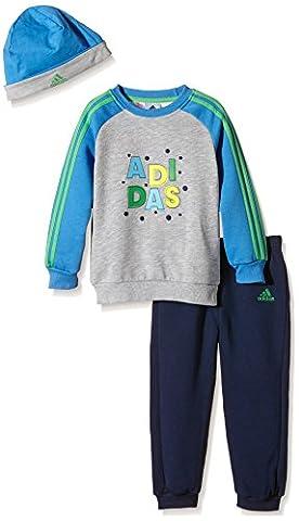 Adidas Coffret cadeau bébé Jogger 3-6 mois Top:Medium Grey Heather/Super Blue S12/Semi Flash Lime F15 Bottom:Collegiate Navy
