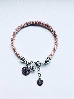 Bracelet femme rose avec arbre de vie et perle à parfumer, bracelet femme, bijoux, bracelet arbre de vie, idée cadeau femme, bijoux cadeaux